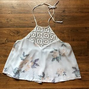 White Crop Top Guazy Floral Halter Kendall & Kylie